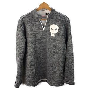 Mens Marvel Gray Punisher 1/4 Zip Pullover Sweater